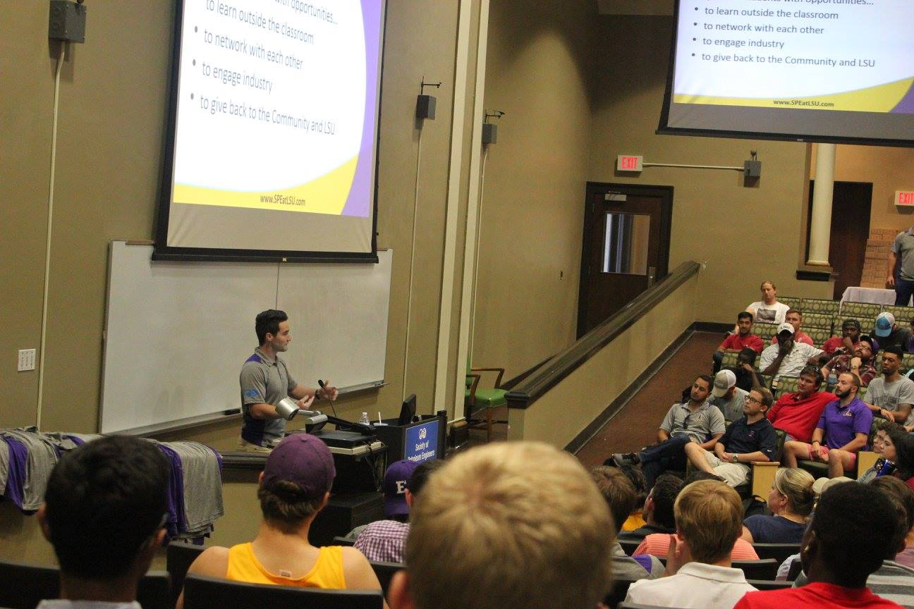 LSU SPE president Ty Nielson begins the first meeting of the semester